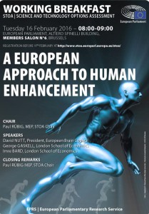 Working breakfast - A European approach to human enhancement @ European Parliament, Members Salon nr 6  Altiero Spinelli Building | Brussels | Brussels | Belgium