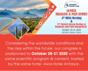 Global Migraine & Pain Summit, 4th Mena Meeting & 2nd Turkish African Meeting of Headache and Pain Management 2020 @ Virtual