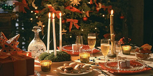 """In France, Christmas is celebrated with a large Christmas feast, called """""""". It usually takes place on Christmas eve or in the early hours of Christmas morning, after midnight mass. Typical foods include Turkey stuffed with chestnuts, goose, oysters and foie gras."""