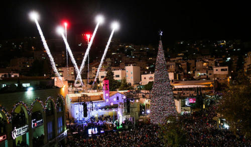 Israel is a predominately Jewish country, so although the Christmas story took place there, it is not widely celebrated. The largest Christian population is in the town of Nazareth (where Jesus grew up). Nazareth has a lot of Christmas decorations and there is also a Christmas Eve parade as well as fireworks at midnight