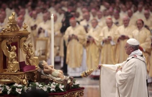 Portuguese people traditionally attend mass after Christmas Eve dinner, where during the service an image of Baby Jesus is brought out and everyone queues up to kiss it. Afterwards it is put in the nativity scene that the church has. Presents are handed over after people have returned home.