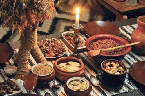 Ukraine is an Orthodox country and whence, Christmas is celebrated on the 7th of January. Like in Poland, traditionally the Christmas Eve meal has to start after the first star has been spotted in the night sky. The star represents the journey of the wise men to find Jesus. The meal traditionally contains 12 dishes, that represent the 12 disciples. After the meal, charols are sung. The Ukrainian 'Shchedryk' is where the popular 'Carol of the Bells' came from.